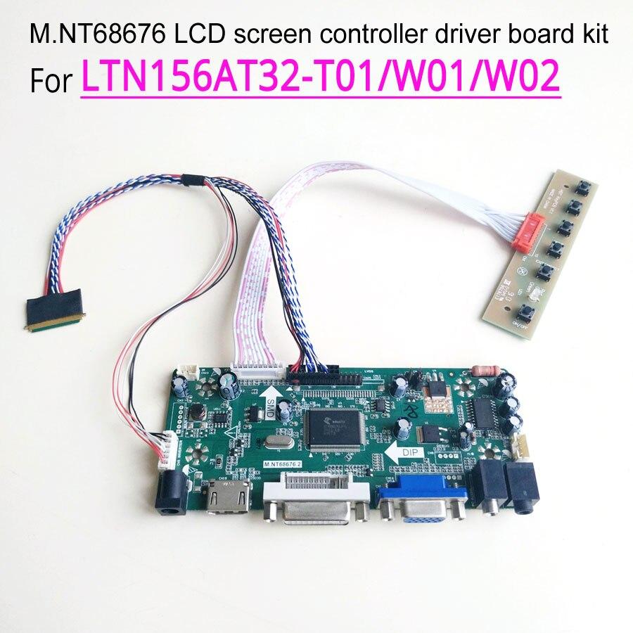 Para LTN156AT32-T01/W01/W02/401/701/L01 M NT68676 Placa de controlador con pantalla VGA HDMI DVI 40-Pin LVDS LED notebook PC 1366*768 kit