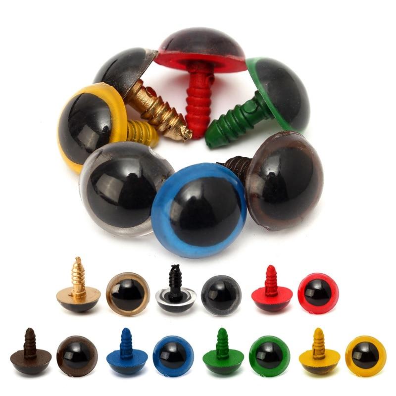 100 pces 16mm plástico olhos de segurança brinquedos para childern animal fantoche artesanato teddy bear dolls animal brinquedo segurança plástico snap peças