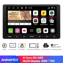 Leaprock 10.1 Inch QLED Display 2DIN Android Car Stereo Multimedia Player Carplay with Speed Compens