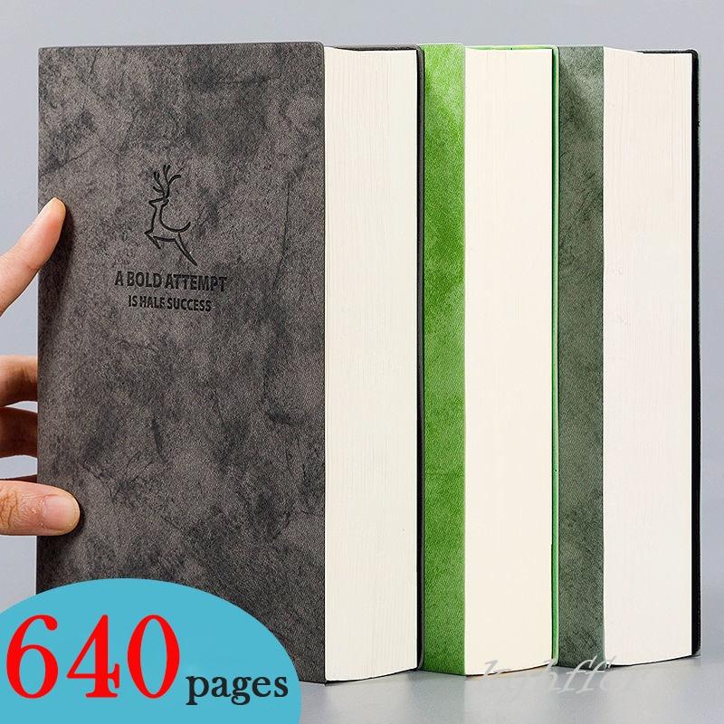 Супер толстая однотонная книга, 80 г/кв. М, 320 листов, кожаная скетчбук, журнал A5, блокнот для ежедневного бизнеса, офиса, работы, блокнот, канце...