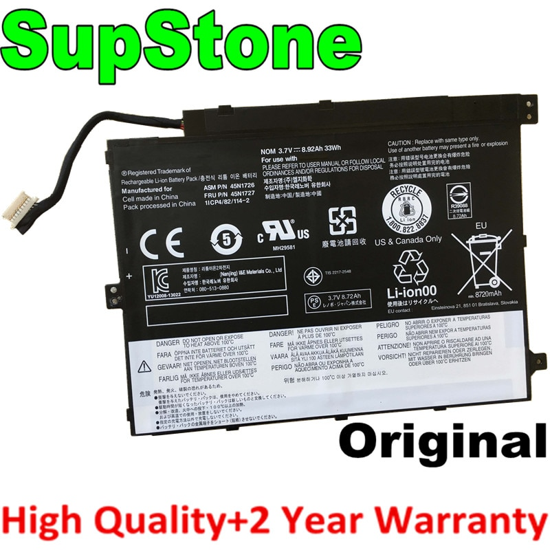 SupStone Dorigine 45N1726 batterie dordinateur portable pour Lenovo ThinkPad Tablet 10 45N1728 45N1729 45N1727 45N1732 45N1733 batterie