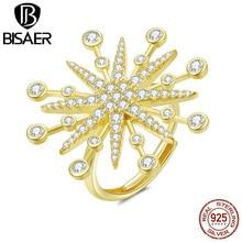 Bisaer cubique Zircon anneaux hyperbolique grand 925 en argent Sterling feux dartifice anneaux pour les femmes faisant des bijoux HVR074