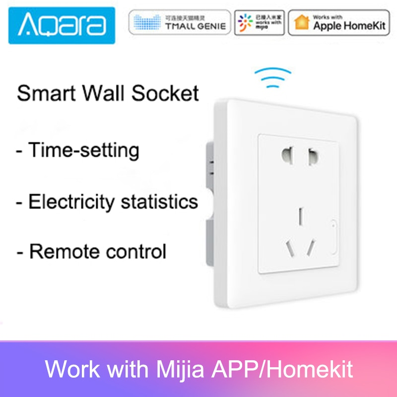 Enchufe de pared inteligente Aqara, enchufe de pared inalámbrico ZigBee, interruptor de toma de pared Mijia, funciona para Xiaomi, kits de hogar inteligente APP