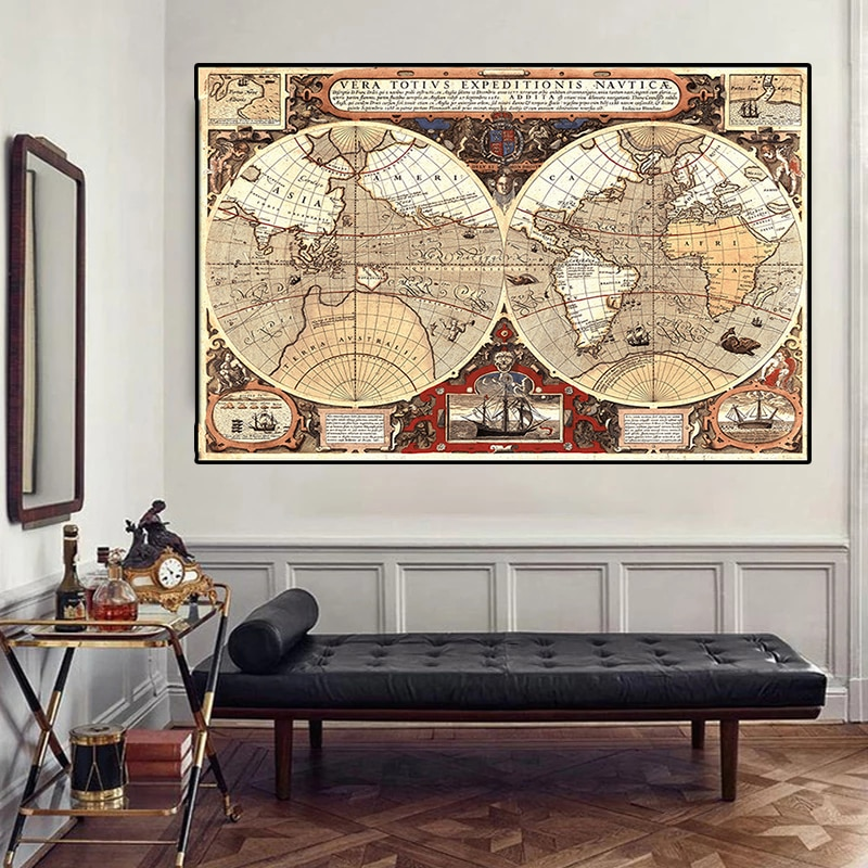 magic world map wallpaper wall stickers for kids rooms bedroom sticker painting poster home decoration accessories 150x100cm Vintage World Map Large Poster Globe Non-woven Canvas Painting  Wall Sticker Card Home Wall Painting Decoration