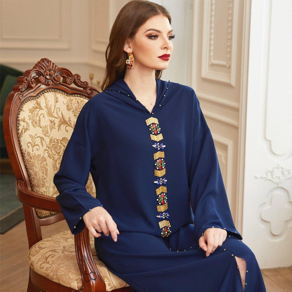 Women Elegant Satin Abaya Moroccan Style Middle East Luxury Hand-Sewn Diamond Robe Muslim Womens Dress