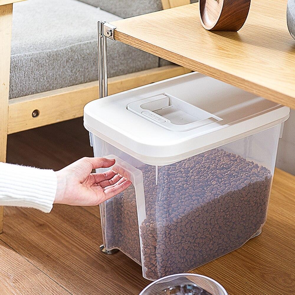 6000 مللي/9000 مللي صندوق تخزين طعام الحيوانات الأليفة الشفاف مع غطاء مختومة مقاوم للرطوبة سعة كبيرة المغذية دلو حاوية تغذية الحيوانات الأليفة