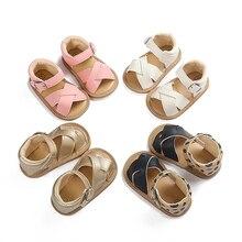 1 Pair Baby Sandals Newborn Babies Girls Non-slip Open Toe Design Walking Sandals Leather Shoes