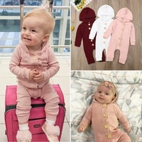 us newborn baby girl boy clothes long sleeve knitted cotton hooded romper autumn clothes