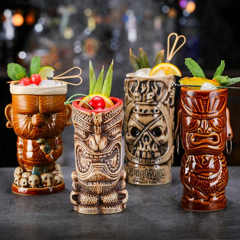Creative chaman Totem Face Bar copas de vino cóctel copa de whisky copa de cerveza copa de jugo espeso