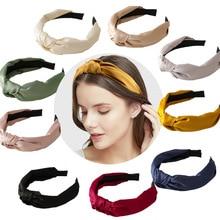 Fashion Soft Beauty Knotted Headband Solid Headwear Classic Style Girls Hair Accessories DIY Turban