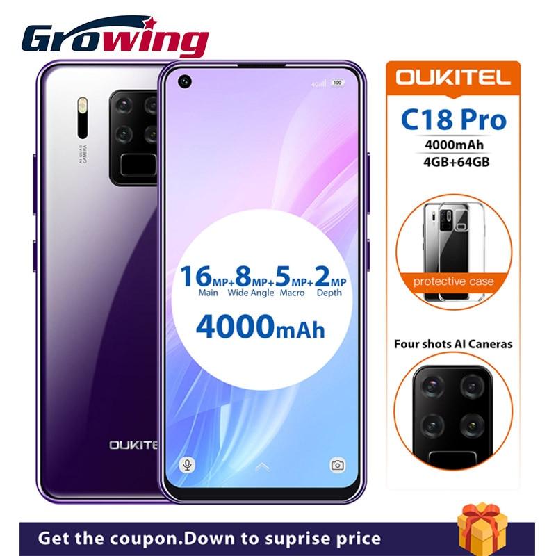 Перейти на Алиэкспресс и купить OUKITEL C18 Pro 6,55 дюйм4 Гб 64 ГБ Android 9,0 смартфон 4000 мАч 16MP 4 камеры 1600*720 MT6757 Восьмиядерный отпечаток пальца мобильный телефон