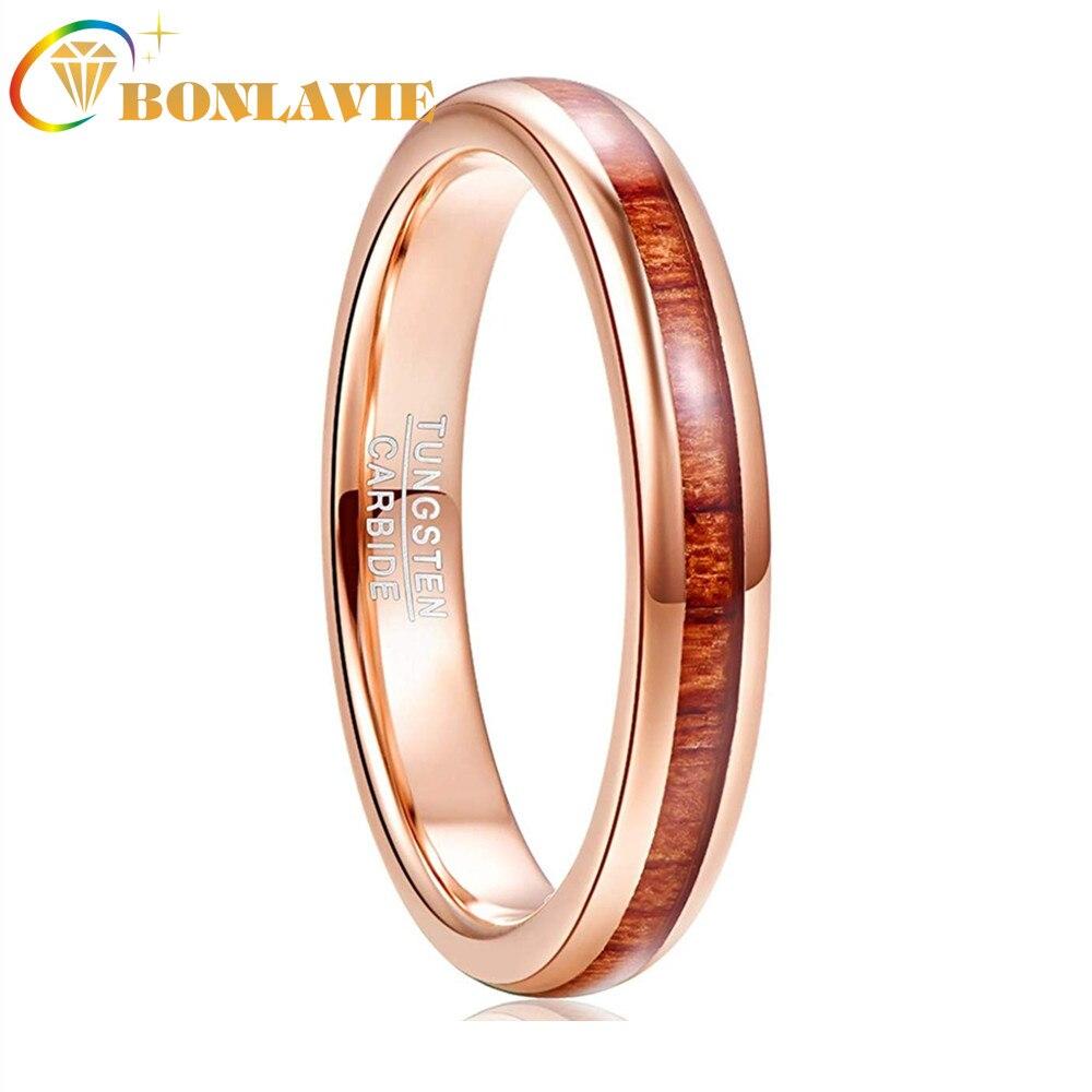 4mm Rosa nuevo Incrustaciones de oro de Acacia, acero de tungsteno, anillo círculo hombres de carburo de tungsteno Anillos De Compromiso Anillos de boda