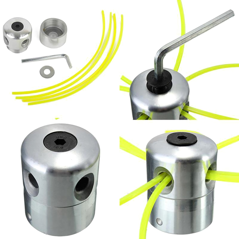 Universal Aluminum Grass Trimmer Head With 4 Lines Brush Lawn Mower Accessories Cutting Line Replacement