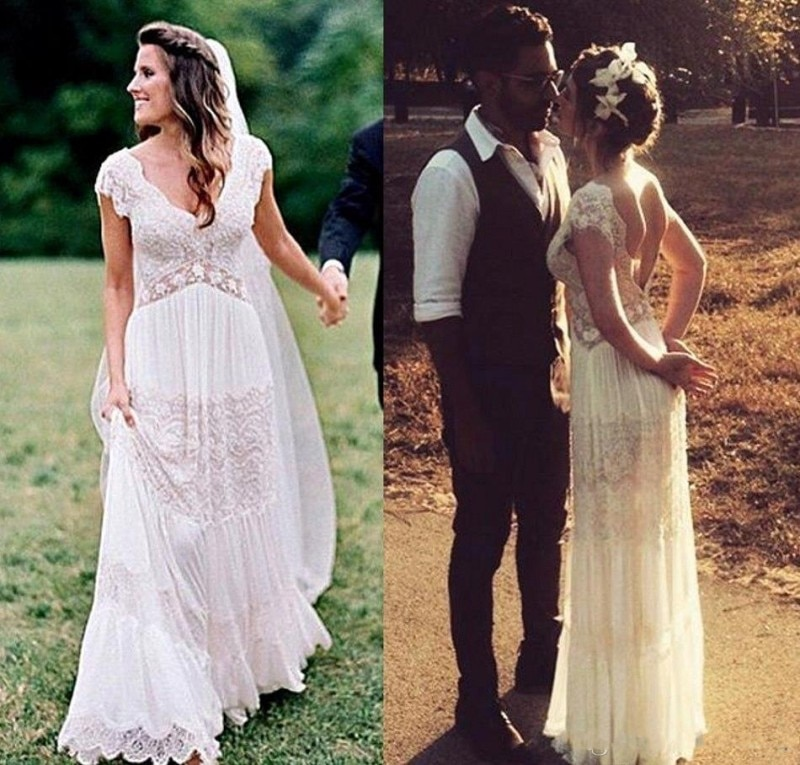 Vintage encaje bohemio vestidos de boda románticos cuello pico espalda descubierta Hippie...