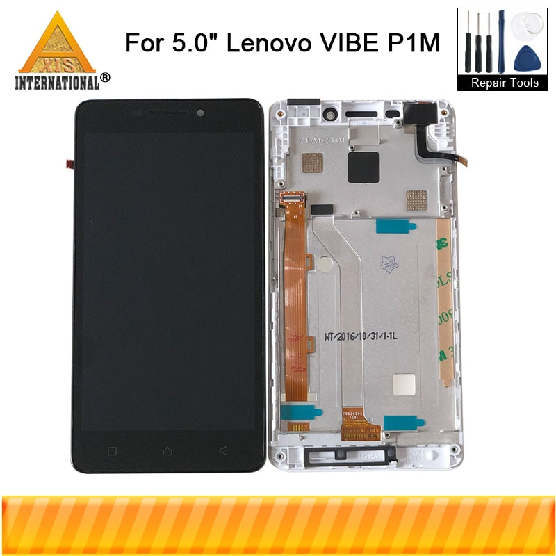 "Original Axisinternational 5.0 ""Für Lenovo VIBE P1M LCD Display Touchscreen Digitizer Rahmen Für Lenovo P1Ma40 P1mc50 LCD"