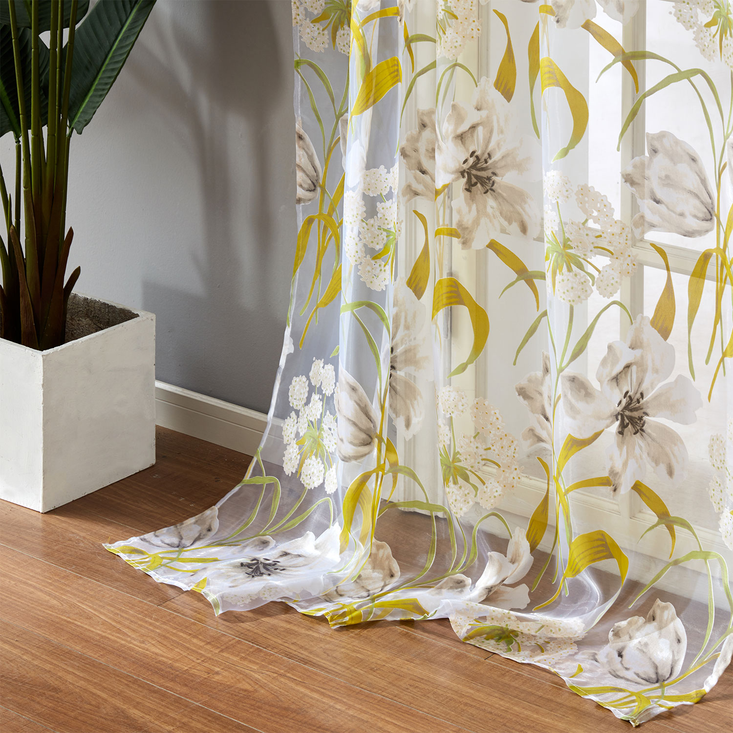 YokiSTG Voile Tulle Curtains Tropical Flower Leaf Curtains For Living Room Kitchen Curtains Bedroom Window Treatment Tulle Drape
