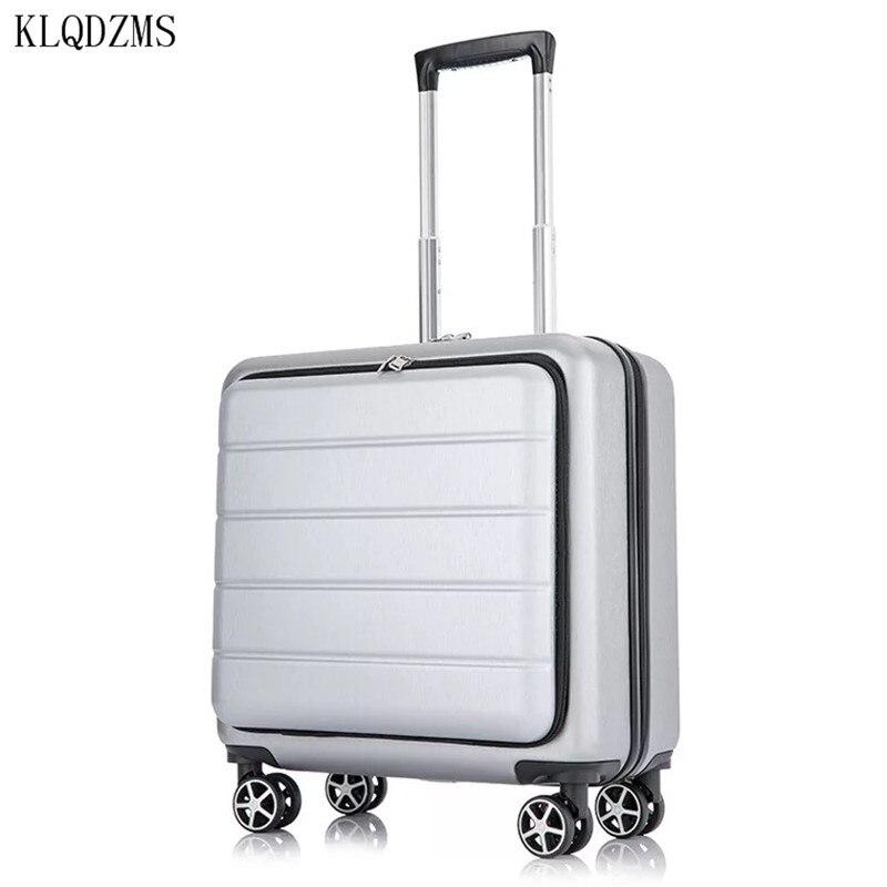 KLQDZMS 18 дюймов мужской деловой чемодан на колесиках чемодан для путешествий для женщин с сумкой для ноутбука инновационный чемодан
