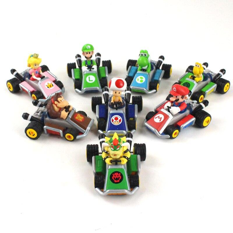 8 Stks/set 4-5 Cm Super Mario Bros Kart Pull Back Auto Mario Luigi Perzik Bowser Koopa Donkey Kong paddestoel Figuur Speelgoed Pop