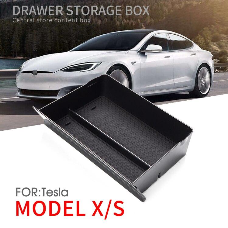 Smabee consola Central caja de almacenamiento para Tesla modelo X modelo S Interior del coche accesorios para el coche accesorios contenedor contenido de almacenamiento cajón caja