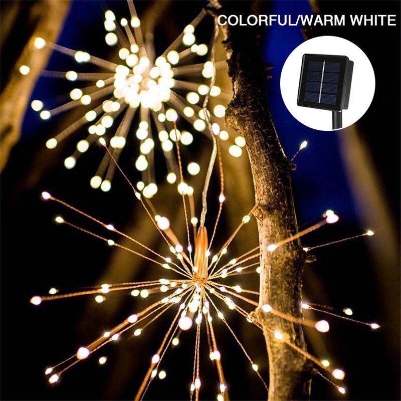 100 120 150 180 led solar powered pendurado starburst fogos de artificio natal fada