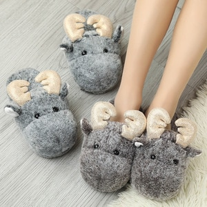 2020 Christmas Women Shoes for Women Ladies Fur Fluffy Cotton Slippers House Indoor Sandalias Boots Sandal Winter Shoes Warm