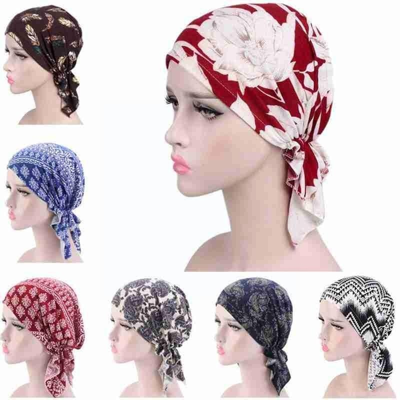 Women Print Muslim Turban Caps India Hat Stretch Lace New Head Ruffle Chemo Scarf Cancer Headscarf Hair Hijab 2021 Beanie L I9A6 new women stretch solid ruffle turban hat scarf knotted chemo beanie caps headwrap for cancer chemotherapy hair loss accessories