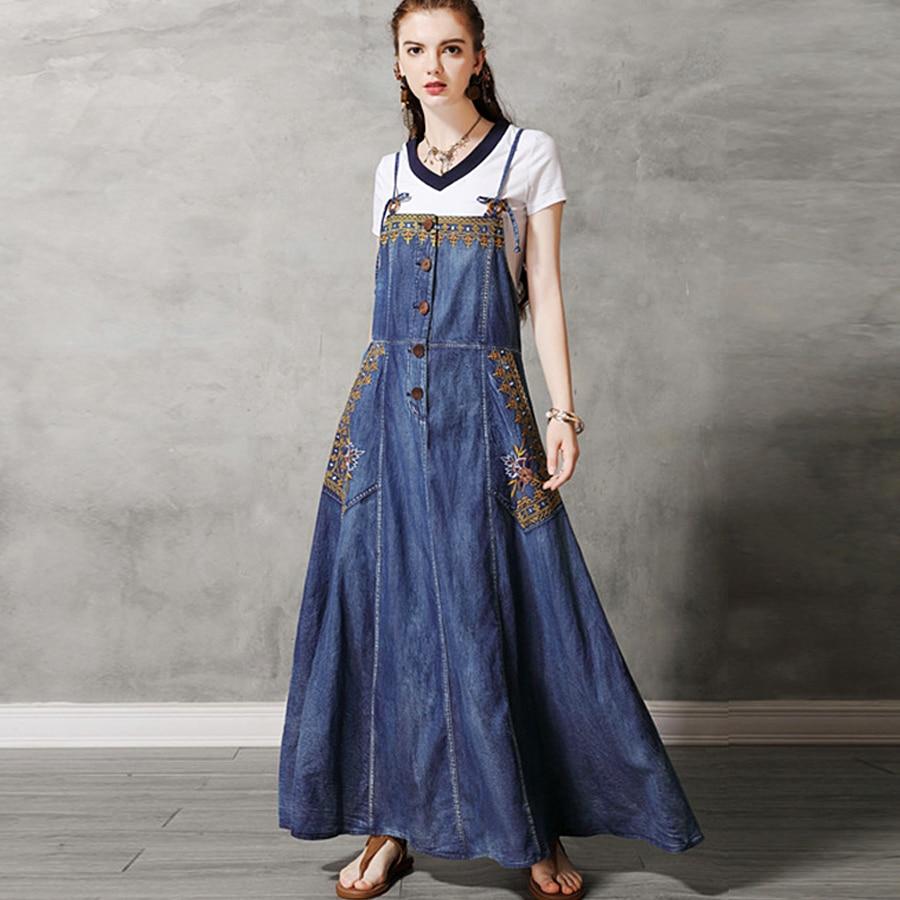 Vestido de verano sin mangas estilo bohemio de tela vaquera TEELYNN, vestido de algodón bordado étnico gitano, vestidos maxi para mujer, vestidos