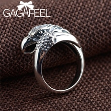 GAGAFEEL Punk aigle anneaux pour hommes réel S925 argent réglable anneaux Vintage aigle tête ouverte anneau Cool bijoux cadeaux