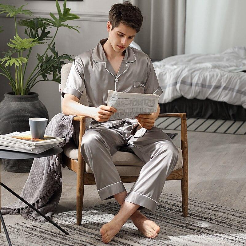Лето одежда для сна мужские короткие рукав длинные брюки из двух частей пижама комплекты лед шелк тонкие мужские пижамы домашняя одежда 9006B
