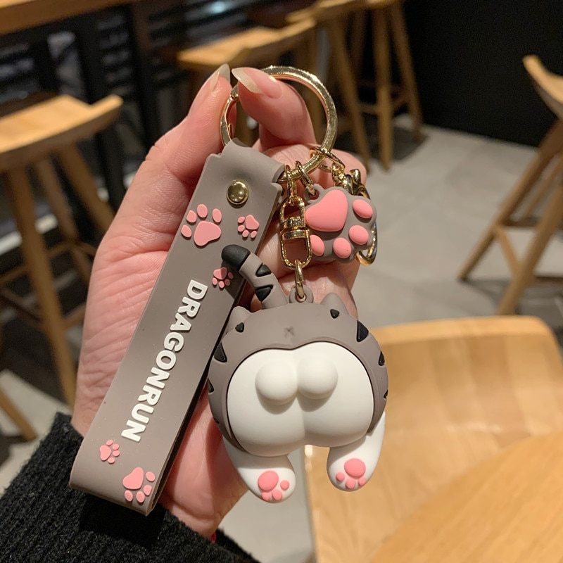 Cat Butt Keychain Cartoon Female Cute Couple Lovers Pair Gift Bag Ornament Car Key Chain Lanyard Child Toy INS Kawaii Girl Gift