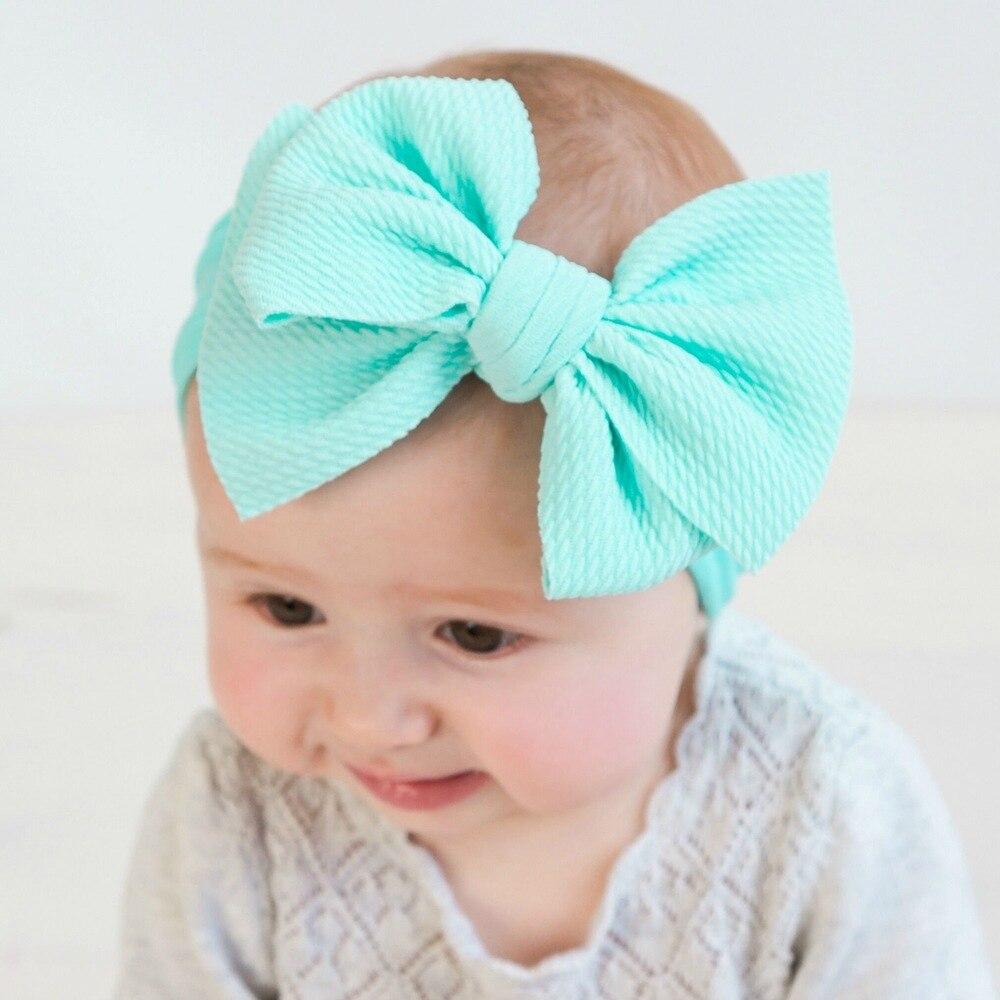 1 pieza Fit All Solid Large Hair moños elástico turbante cabeza envolver niños Top Knot Hairband Nylon diademas Boutique cabello accesorios