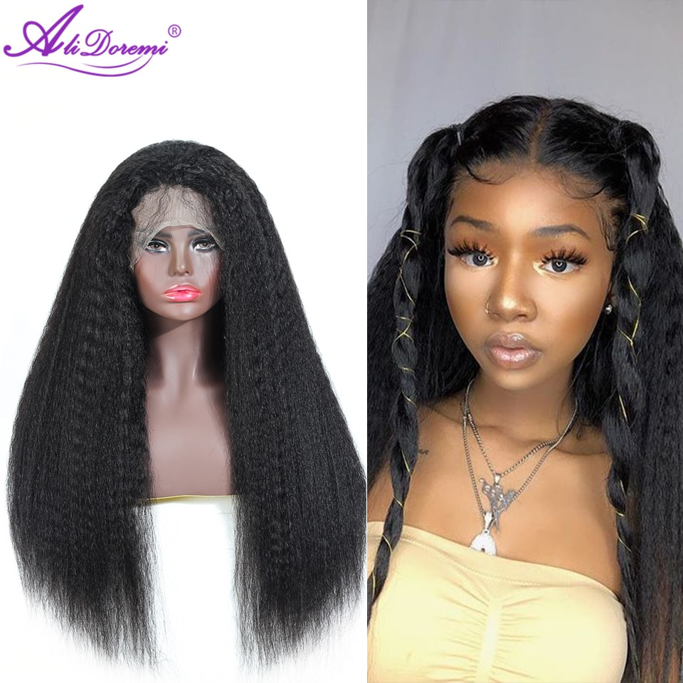 Peruvian Kinky Straight Wig 13x4 13x6 Lace Front Human Hair With Baby Alidoremi