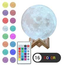 3D Moon Table Lamp  Remote Control USB Rechargeable Night Light 16 Colors Changing  Decoration Light