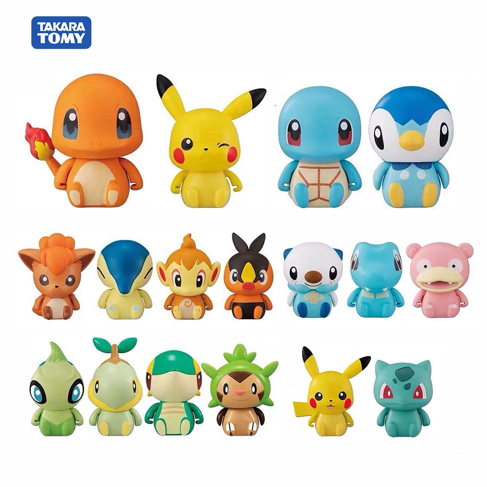 Figuras de acción de Pokémon, modelo nuevo Original de Pokeball Evolution, monstruo mascota, Charmander, Pikachu, Squirtle, Vulpix, colección de figuras de acción, juguete de 5cm