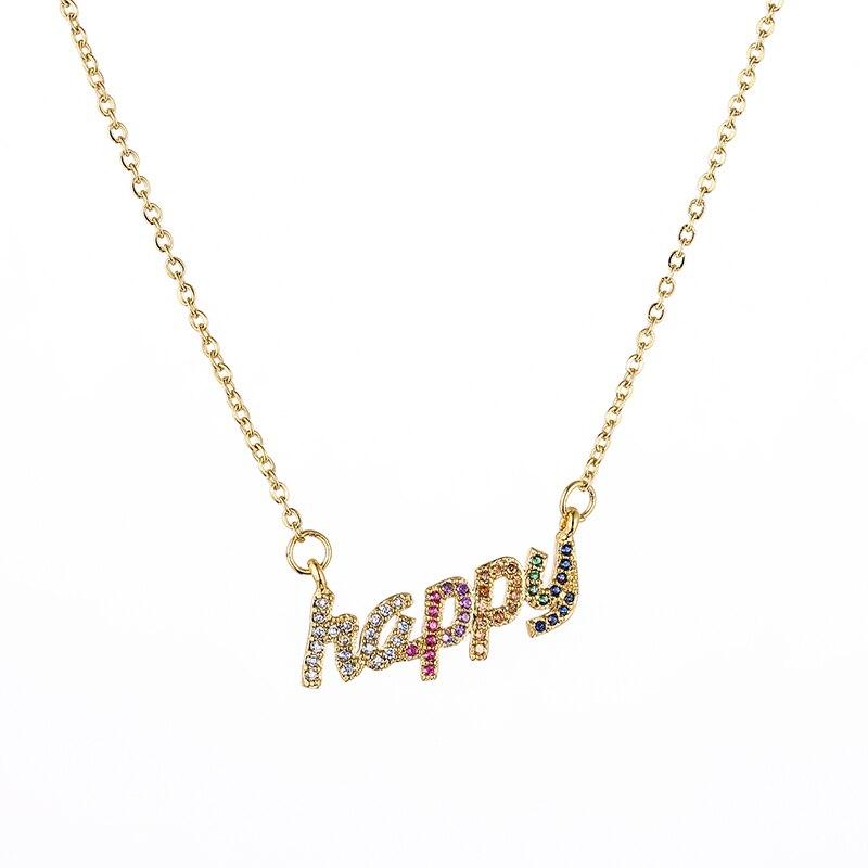 Collar de borla colgante arcoíris Cz, collar colorido con cadena de Serpiente de Cobre, joyería, accesorios de circonitas, regalo para mujer