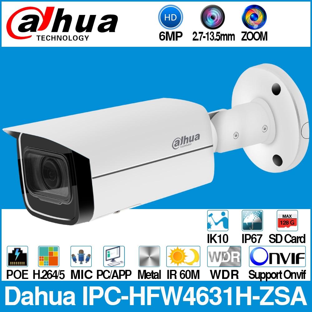 IPC-HFW4631H-ZSA 6MP IPC داهوا IP كاميرا بنيت في MiC مايكرو SD بطاقة فتحة 2.7-13.5 مللي متر 5X التكبير VF عدسة PoE WDR CCTV كاميرا