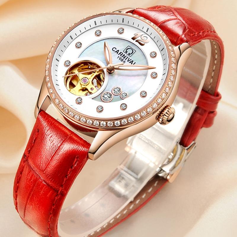 Carnival Women Watch MIYOTA Automatic Mechanical Watches Hollow Fashion Diamond Luxury Female Watch Waterproof Luminous Clock
