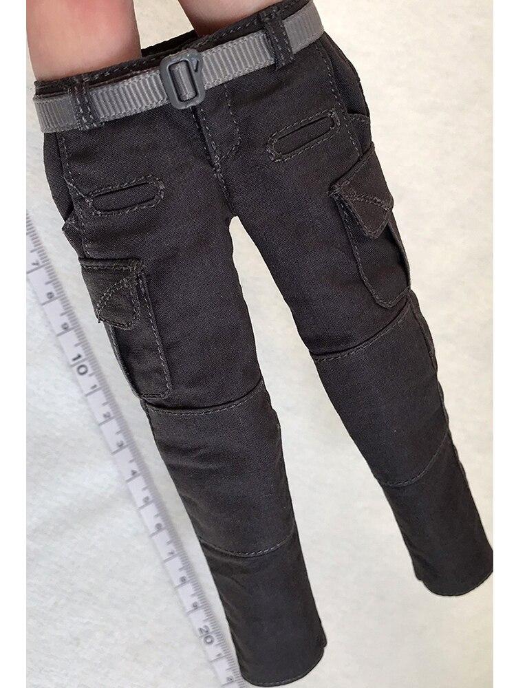 1/6 figura femenina pantalones 12 pulgadas tendencia casual mono gris oscuro con cinturón
