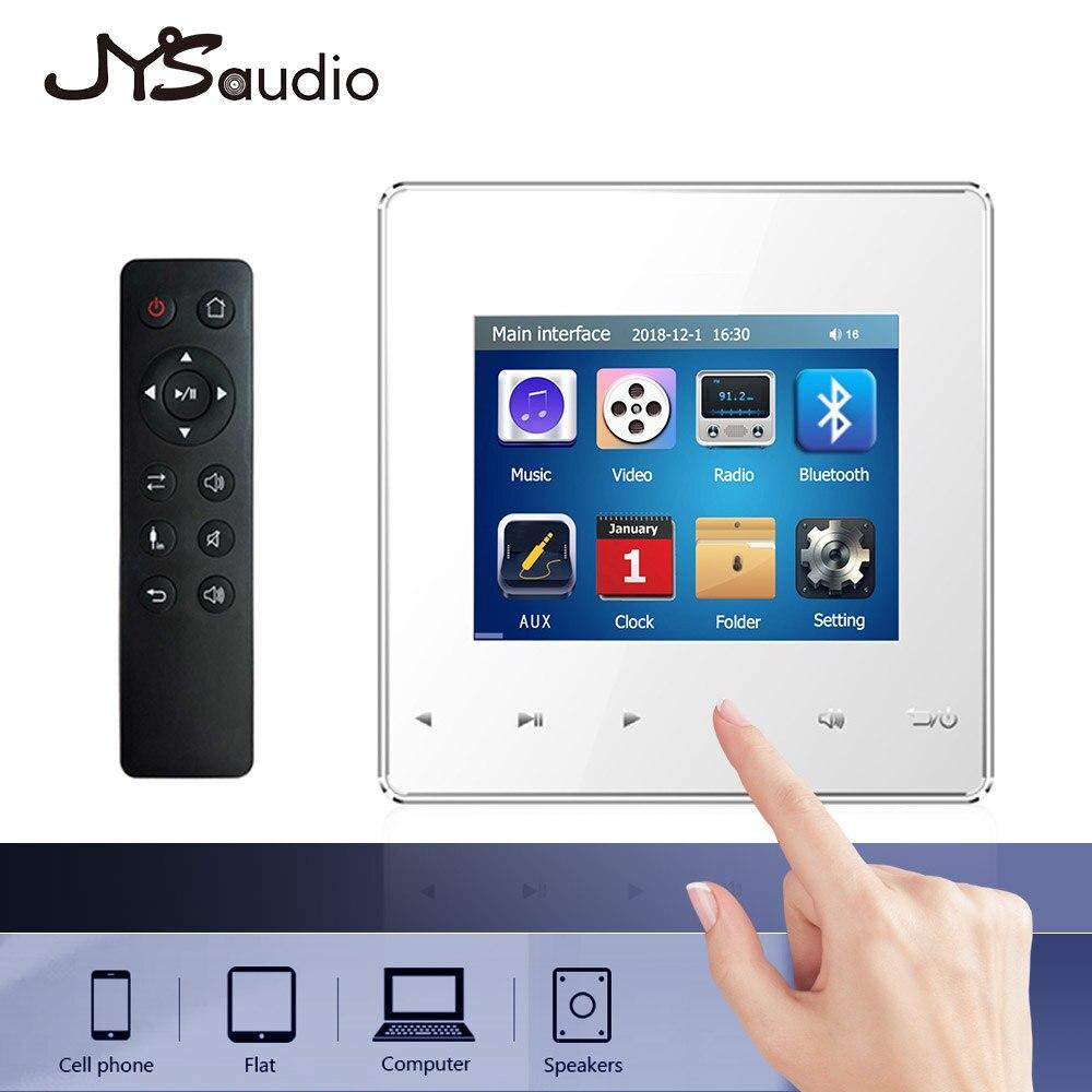 Reproductor de música para el hogar, Mini amplificador de pared con tecla táctil Bluetooth de 2,8 pulgadas con Radio FM, tarjeta USB TF, función de reproducción de música rápida