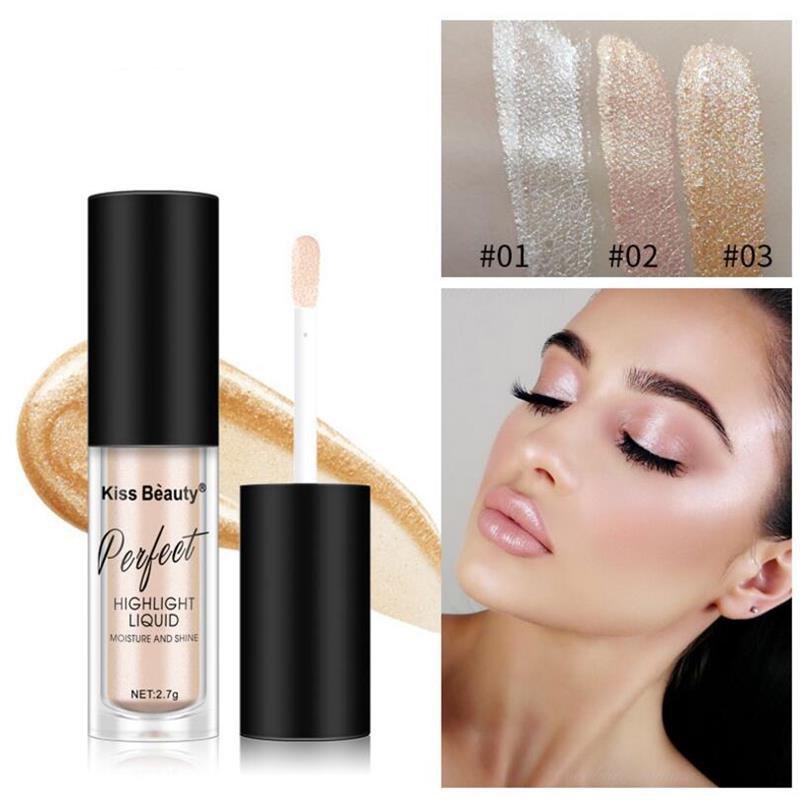 Women Makeup Highlighter Face Contouring Makeup Brightener Concealer Liquid Highlighter Primer Bronz