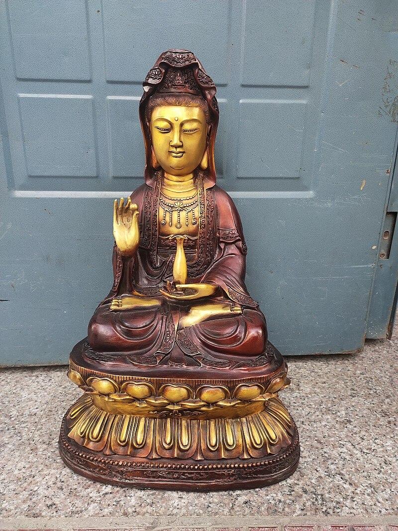 58 سنتيمتر كبير آسيا البوذية المنزل معبد تغيير جيد البرونزية الهبة غوان يين بوديساتفا بوذا تمثال يبارك السلامة الصحة الحظ