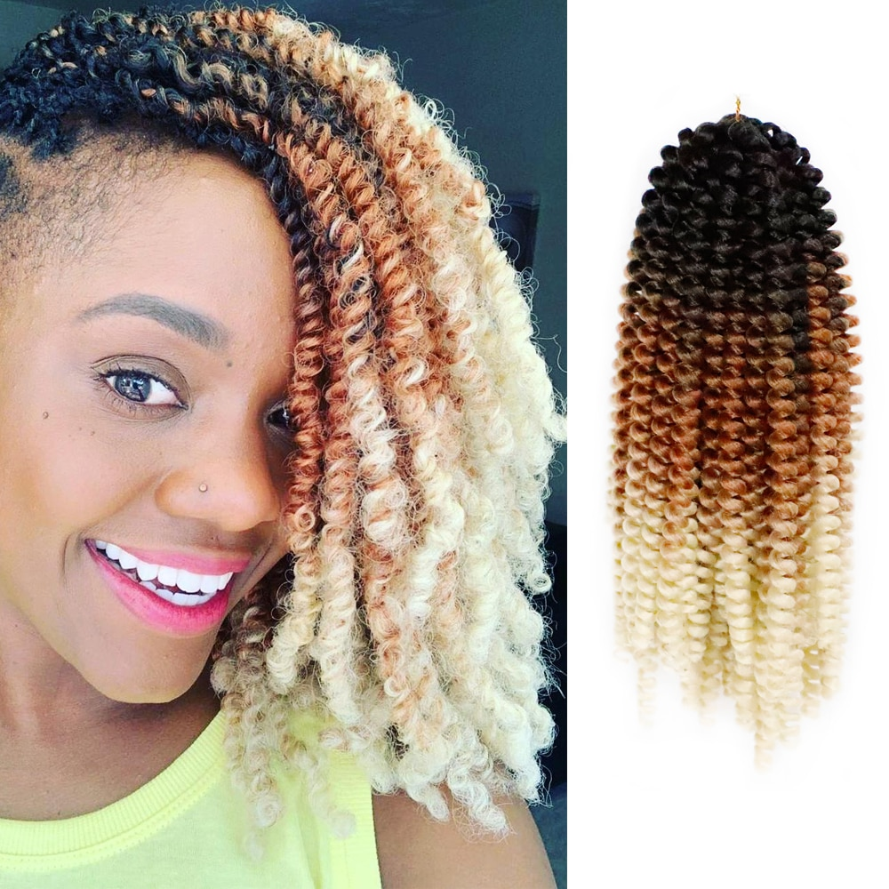 8inch Ombre Spring Twist Hair Crochet Braids Passion Twist Synthetic Braiding Hair Extensions Crotchet 30roots Black Brown Red onxy 8inch fluffy spring twist crochet hair extensions synthetic crochet braids black brown ombre braiding hair 110g