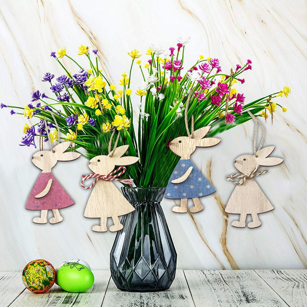 Cartoon Wooden Rabbit Pendant Decor Lovely Bunny Ornaments DIY Hanging Crafts Happy Easter Party Sup