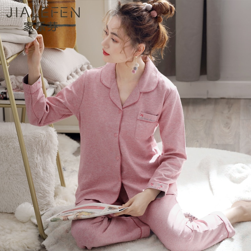 Pajamas WOMEN'S Spring and Autumn Fall Pure Cotton Long Sleeve Clothing Cotton Autumn and Winter Kor