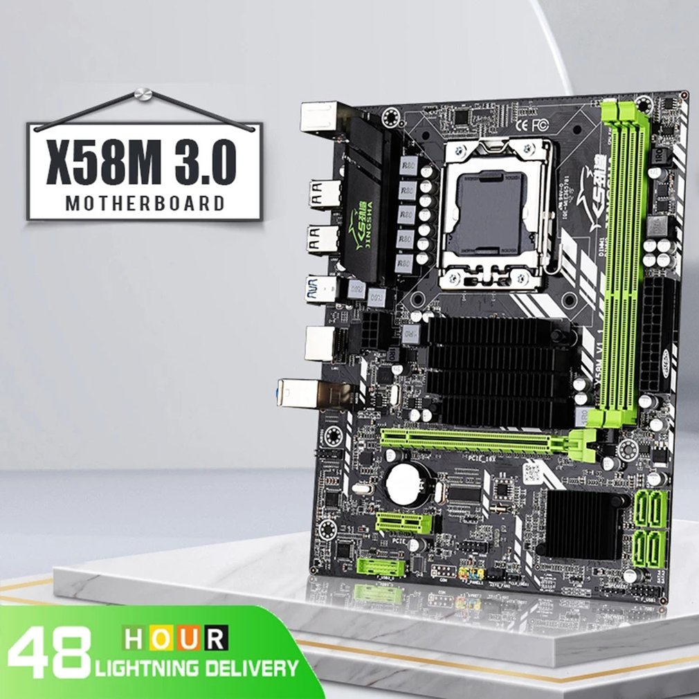 X58M 3.0 mATX Desktop X58 Motherboard DDR3 LGA 1366 Support AMD RX series with USB 3.0