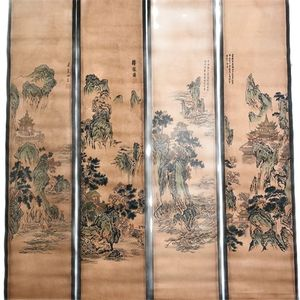 China Od Scroll Painting Four Screen Paintings MiddleHall Hanging Painting Tang Bohu's Calligraphy