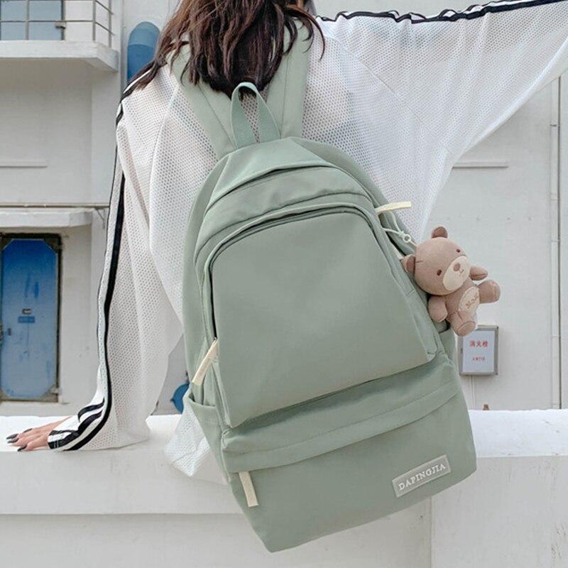 EST Водонепроницаемый нейлоновый рюкзак одноцветное Цвет Большой Школьная сумка Подвеска кавайи для путешествий Женские плечи Bolsa Mochila Mejure