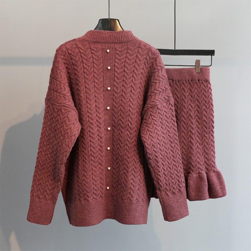 Conjuntos de punto grueso para mujer, espesamiento sólido, suéteres cálidos, cárdigan y faldas con volantes, faldas elegantes para mujer, trajes de alta calidad