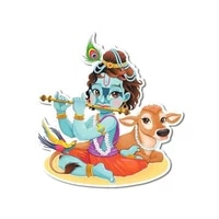 13cm x 12cm fashion for lord krishna playing flute decal bumper window car stickers anime waterproof windshield decoration