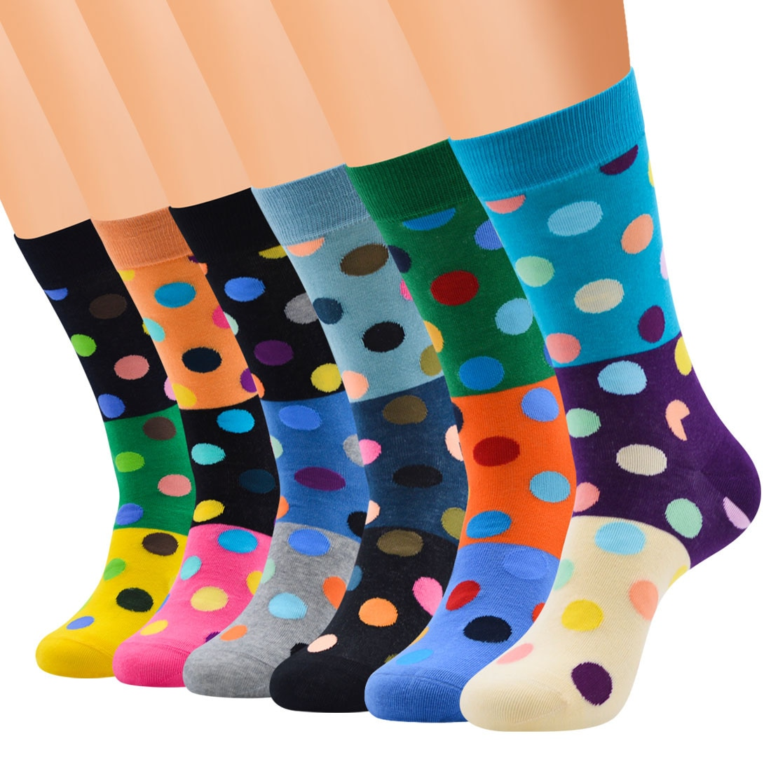 Modern New Fashion Combed Cotton Autumn And Winter Middle Tube Polka Dot Split Connecting Patchwork Socks  For Women Girls
